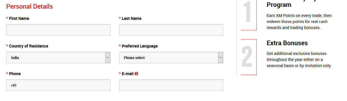 XM Broker Account Registration Details