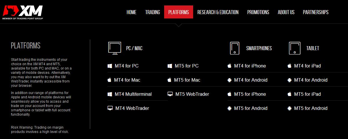 XM Trading Platforms