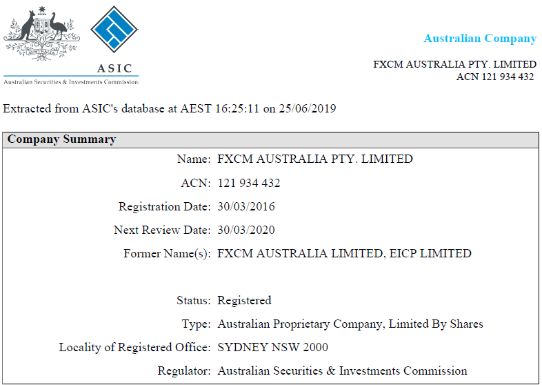 FXCM regulation with ASIC