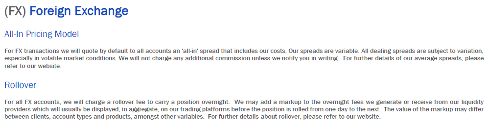 FXCM Rollover Charges