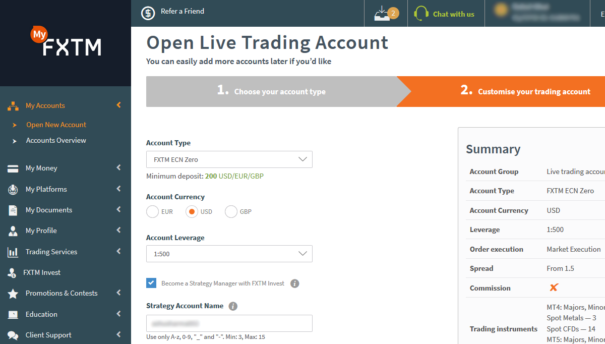 Select Account Type & Account Currency