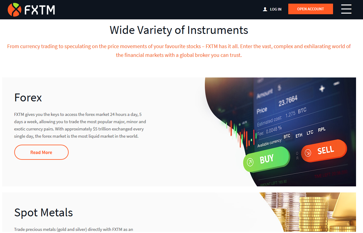 FXTM Trading instruments