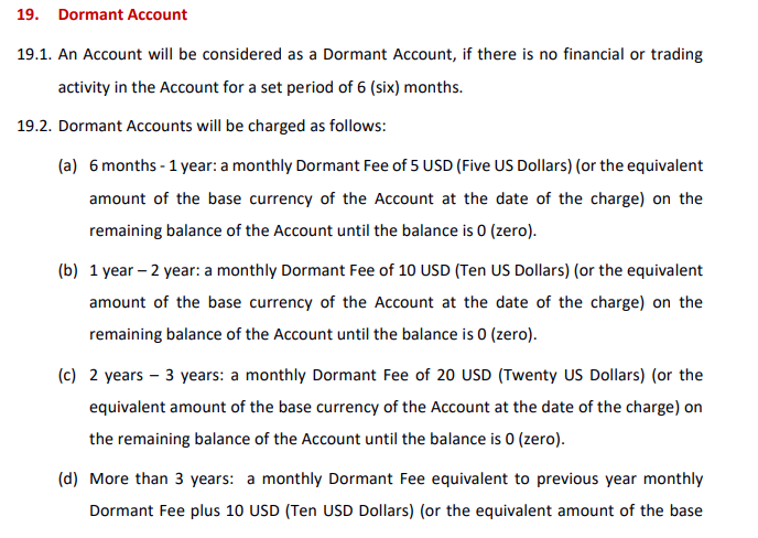 HotForex Dormant Account Charges
