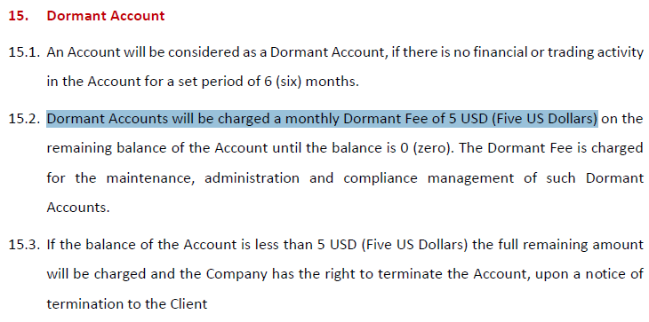 HotForex dormant account fees