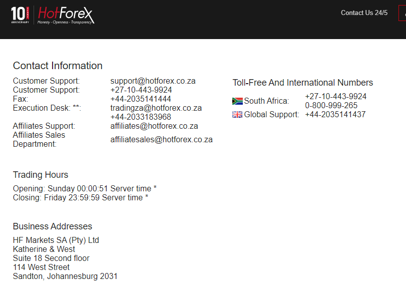 HotForex South Africa Customer Support