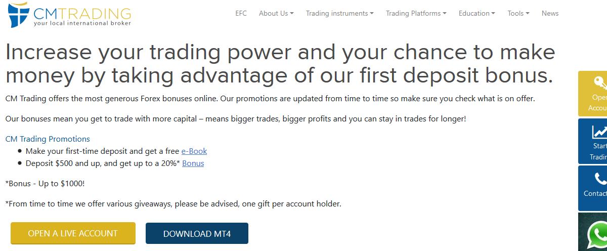 CM Trading Bonus