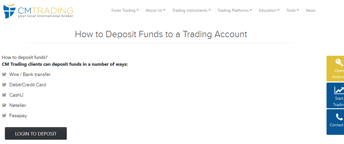 CM Trading Deposit Methods