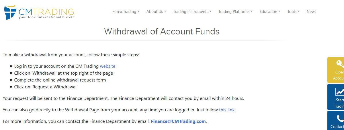 CM Trading Withdrawal Methods