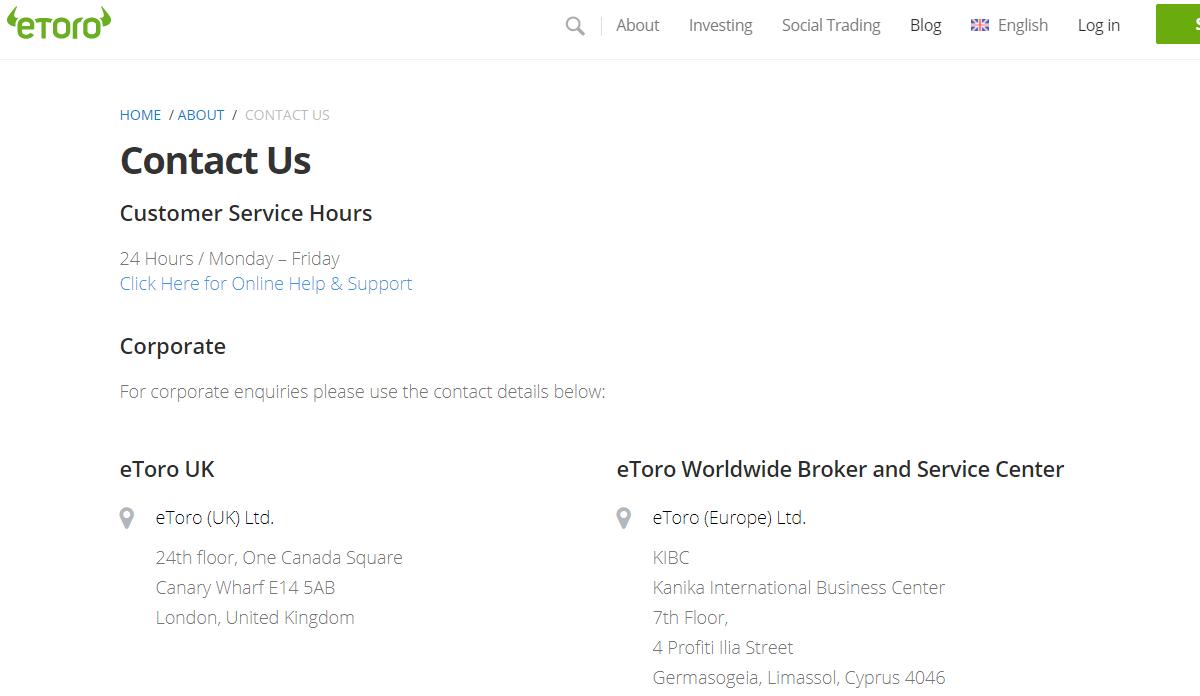 eToro Contact Us