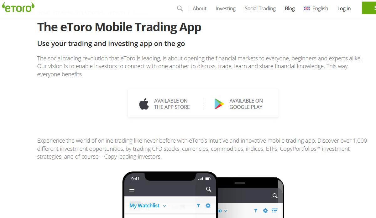 eToro Mobile Trading Platform