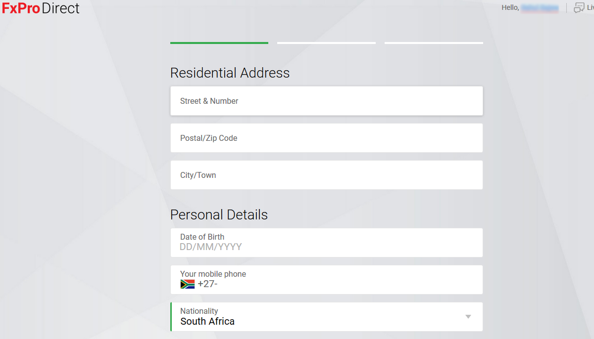 FxPro Fill your Residential Address information