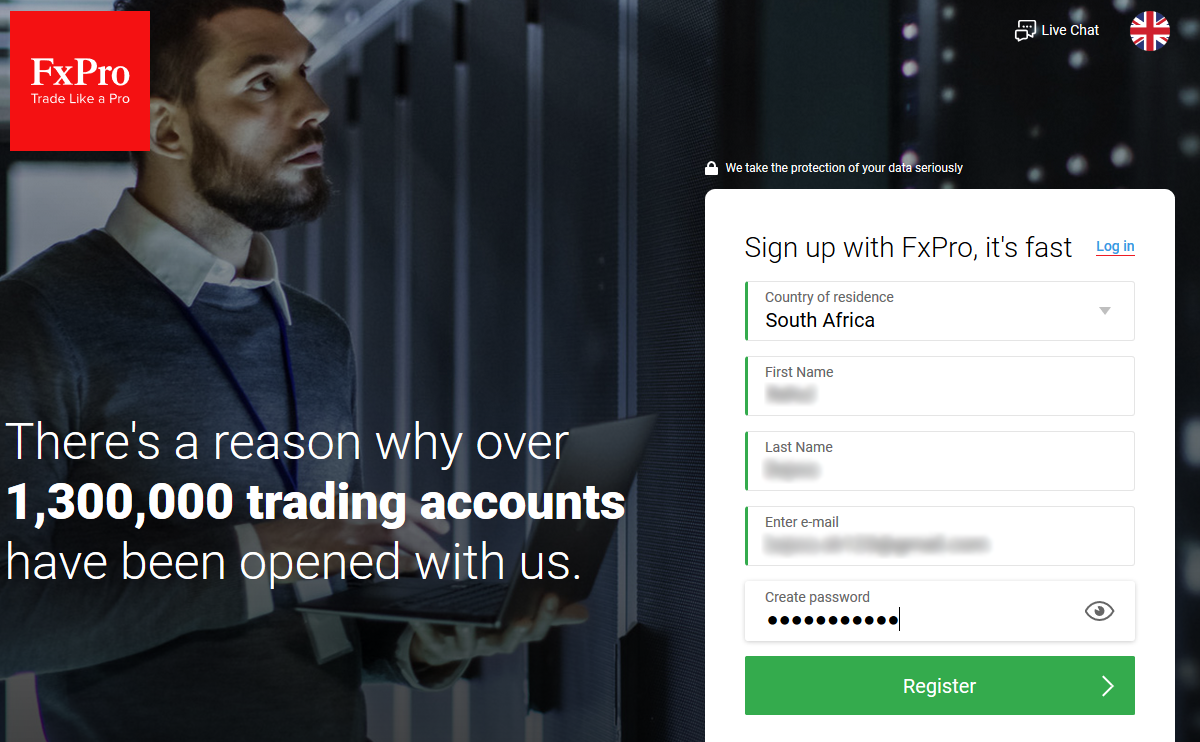 Complete your Signup with FxPro