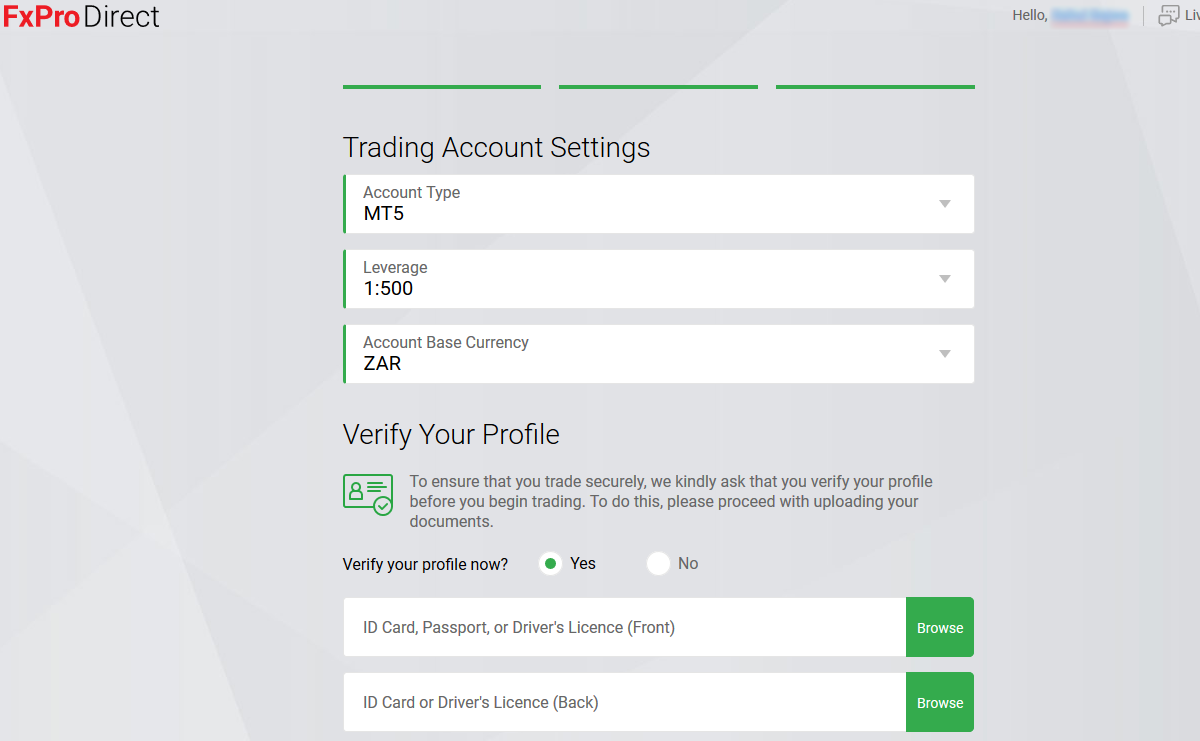 Fxpro Trading Account Setting & Verify your account