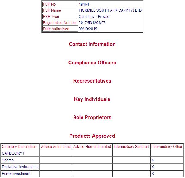 Tickmill FSCA Regulation Status