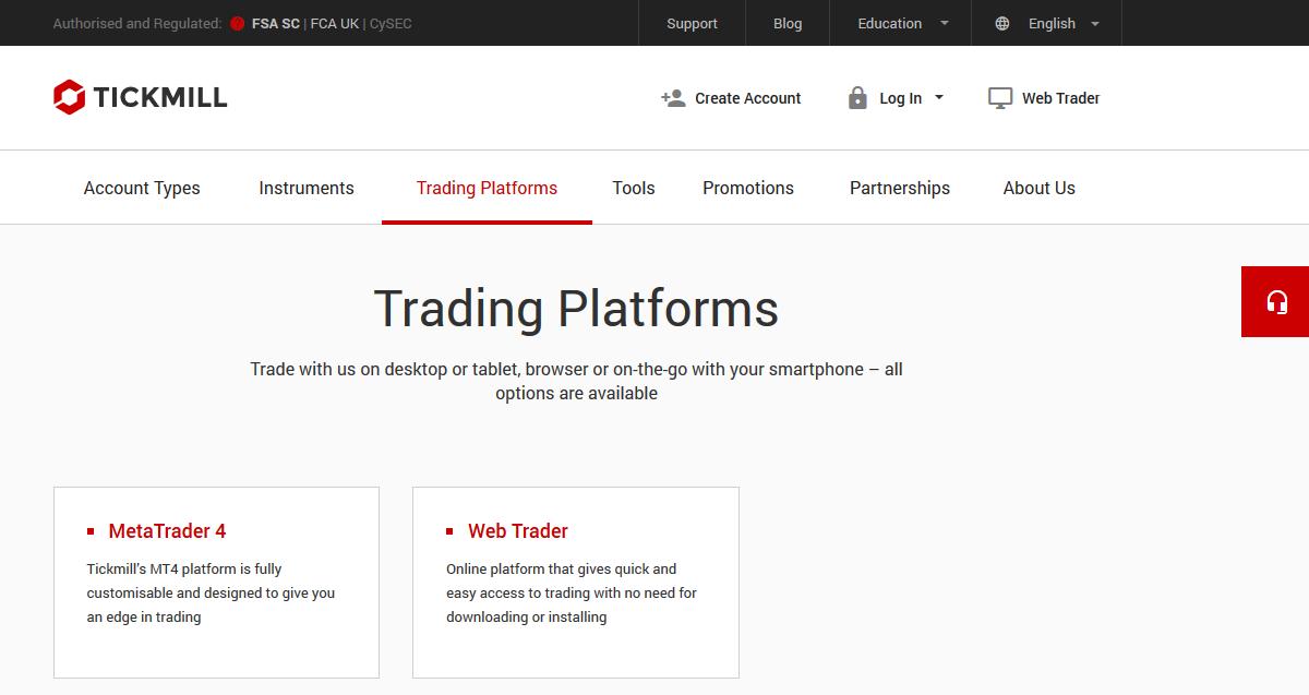 Tickmill Trading Platforms