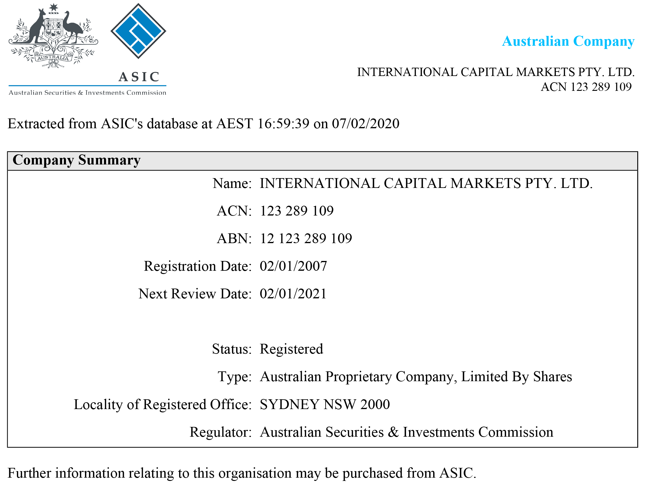 IC Markers ASIC Regulation