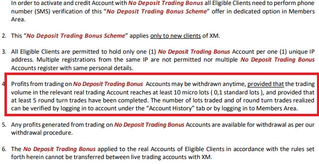XM Trading No deposit Bonus terms