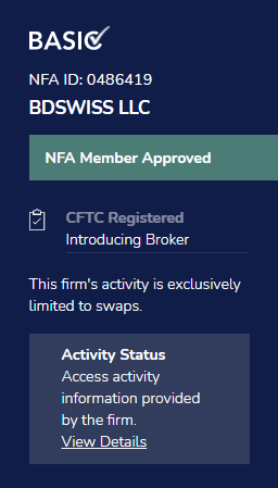 BDSwiss NFA License