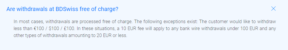BDSwiss Withdrawal Fees