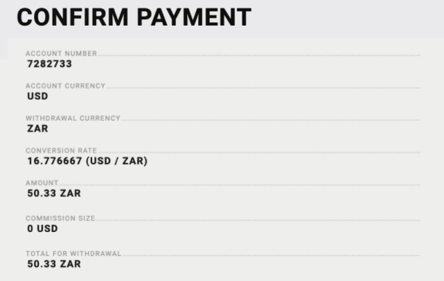 Forex Broker ZAR Account withrawal example